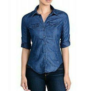 Cavalini Chambray Button up shirt size Small